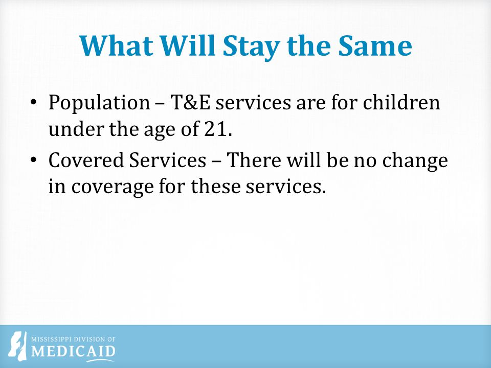 What Will Stay the Same Providers – Regardless of the type of T&E provider (individual provider or a group practice) currently o Licensed Professional Counselors (LPCs) cannot provide T&E services.
