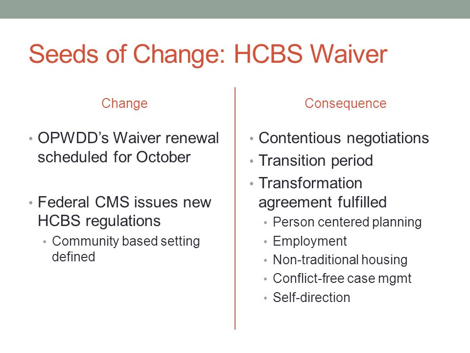 Seeds of Change: HCBS Waiver Change OPWDD's Waiver renewal scheduled for October Federal CMS issues new HCBS regulations Community based setting defined Consequence Contentious negotiations Transition period Transformation agreement fulfilled Person centered planning Employment Non-traditional housing Conflict-free case mgmt Self-direction