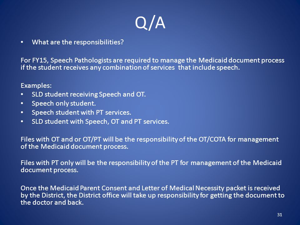 Q/A What are the responsibilities.