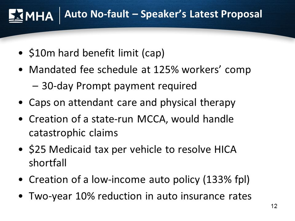Auto No-fault – Speaker's Latest Proposal $10m hard benefit limit (cap) Mandated fee schedule at 125% workers' comp –30-day Prompt payment required Ca