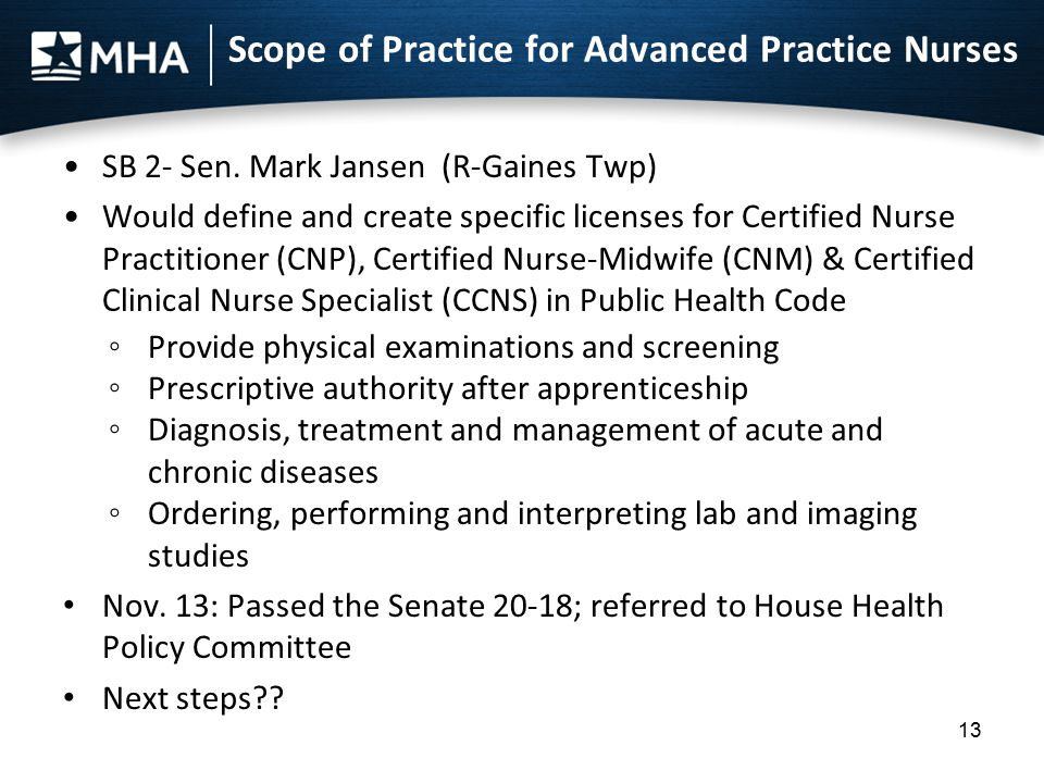 Scope of Practice for Advanced Practice Nurses SB 2- Sen. Mark Jansen (R-Gaines Twp) Would define and create specific licenses for Certified Nurse Pra