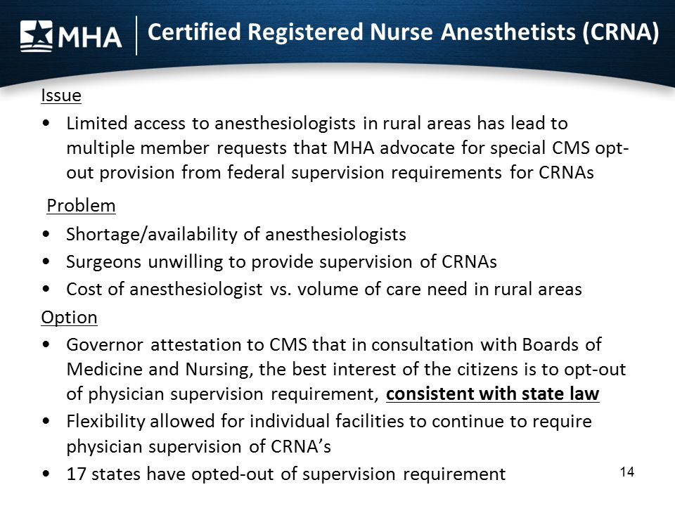 Certified Registered Nurse Anesthetists (CRNA) Issue Limited access to anesthesiologists in rural areas has lead to multiple member requests that MHA advocate for special CMS opt- out provision from federal supervision requirements for CRNAs Problem Shortage/availability of anesthesiologists Surgeons unwilling to provide supervision of CRNAs Cost of anesthesiologist vs.