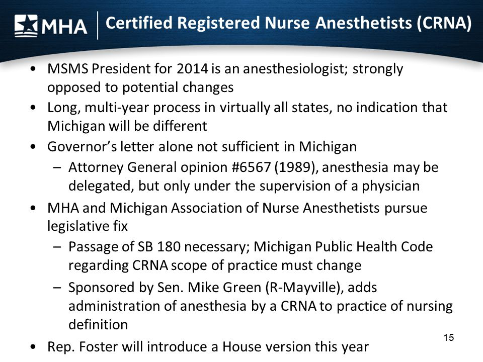 Certified Registered Nurse Anesthetists (CRNA) MSMS President for 2014 is an anesthesiologist; strongly opposed to potential changes Long, multi-year