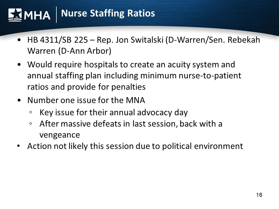 Nurse Staffing Ratios HB 4311/SB 225 – Rep. Jon Switalski (D-Warren/Sen. Rebekah Warren (D-Ann Arbor) Would require hospitals to create an acuity syst