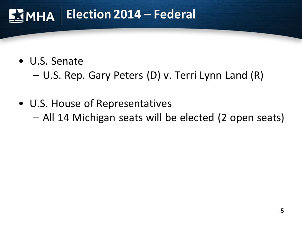 Election 2014 – Federal U.S. Senate –U.S. Rep. Gary Peters (D) v.