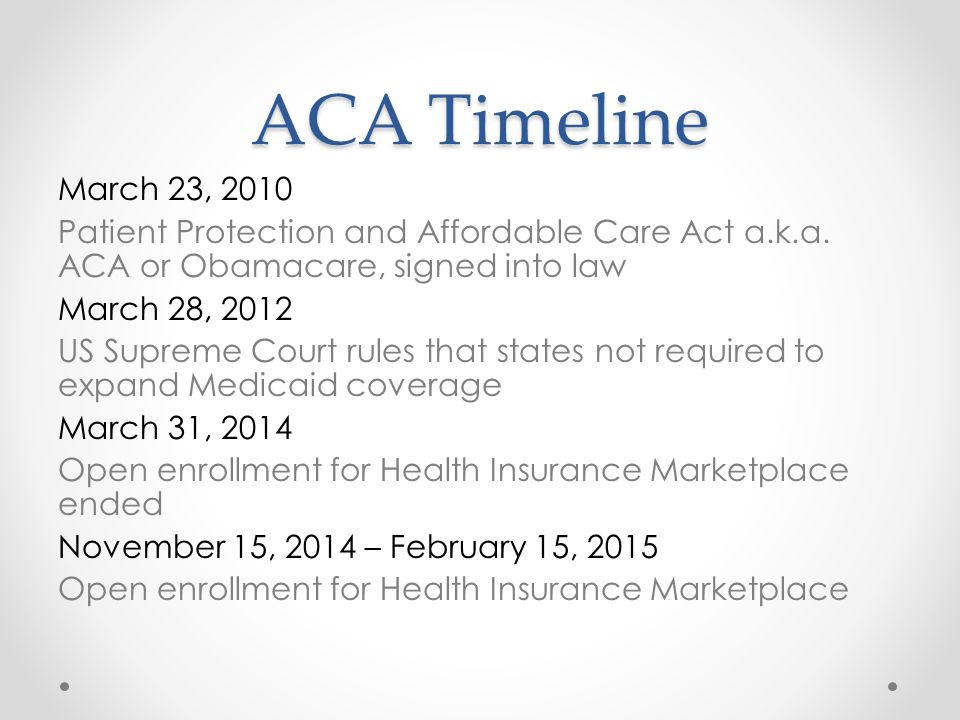 ACA Timeline March 23, 2010 Patient Protection and Affordable Care Act a.k.a.
