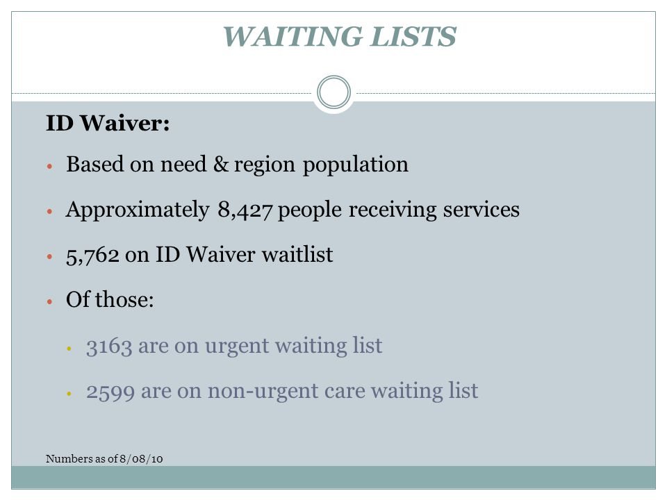 WAITING LISTS ID Waiver: Based on need & region population Approximately 8,427 people receiving services 5,762 on ID Waiver waitlist Of those: 3163 are on urgent waiting list 2599 are on non-urgent care waiting list Numbers as of 8/08/10