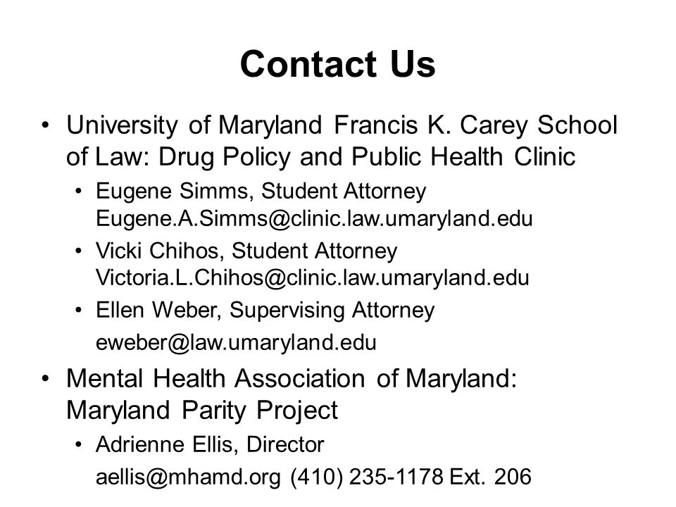 Contact Us University of Maryland Francis K.