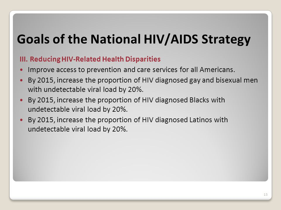 Goals of the National HIV/AIDS Strategy III.