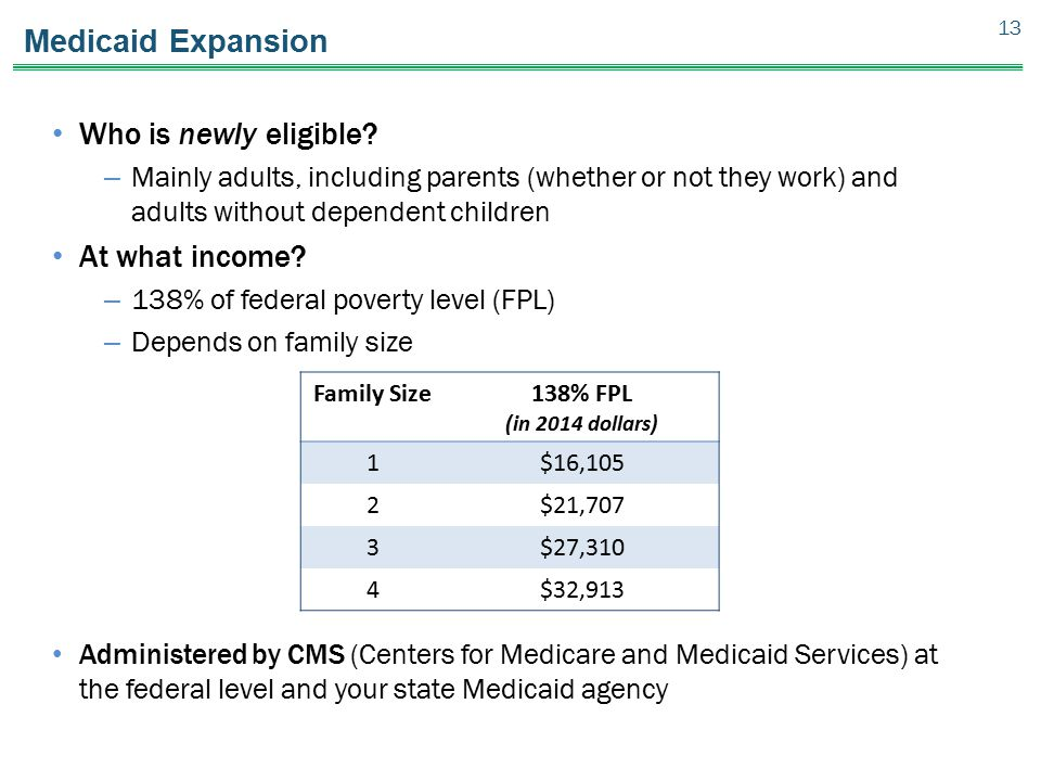 Medicaid Expansion Who is newly eligible? – Mainly adults, including parents (whether or not they work) and adults without dependent children At what