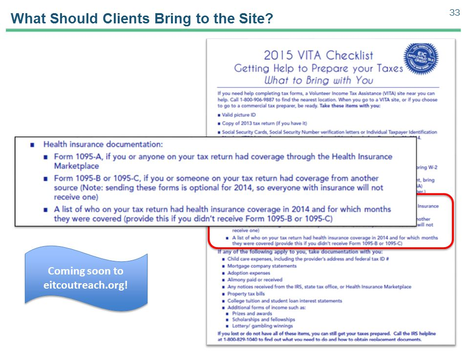What Should Clients Bring to the Site? 33 Coming soon to eitcoutreach.org!