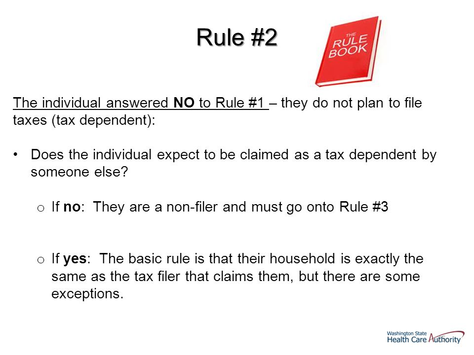 25 Rule #2 The individual answered NO to Rule #1 – they do not plan to file taxes (tax dependent): Does the individual expect to be claimed as a tax dependent by someone else.