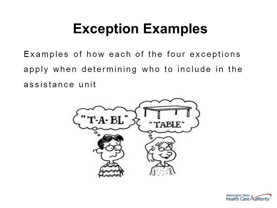 39 Examples of how each of the four exceptions apply when determining who to include in the assistance unit Exception Examples
