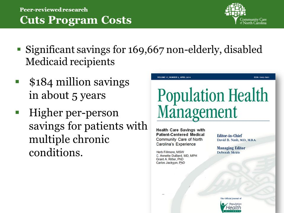 Significant savings for 169,667 non-elderly, disabled Medicaid recipients  $184 million savings in about 5 years  Higher per-person savings for patients with multiple chronic conditions.