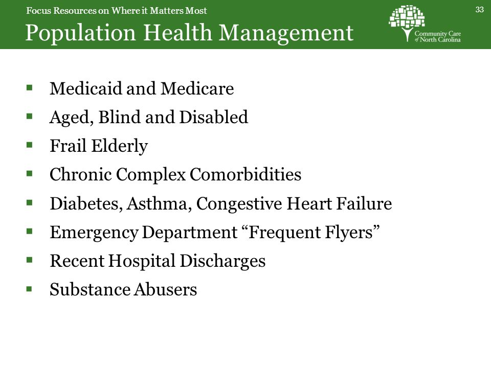 Population Health Management 33  Medicaid and Medicare  Aged, Blind and Disabled  Frail Elderly  Chronic Complex Comorbidities  Diabetes, Asthma, Congestive Heart Failure  Emergency Department Frequent Flyers  Recent Hospital Discharges  Substance Abusers Focus Resources on Where it Matters Most