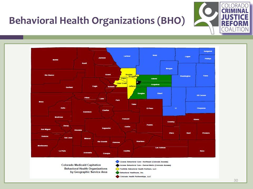 Behavioral Health Organizations (BHO) 30