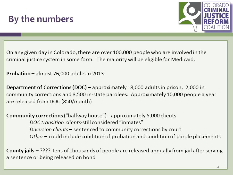 By the numbers On any given day in Colorado, there are over 100,000 people who are involved in the criminal justice system in some form.