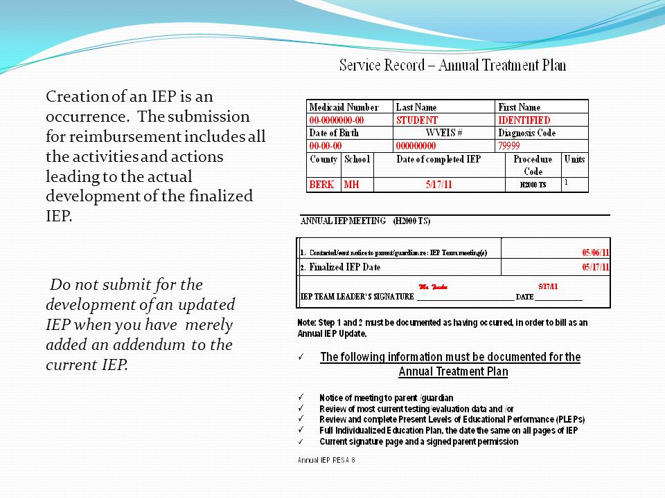Do not submit for the development of an updated IEP when you have merely added an addendum to the current IEP.