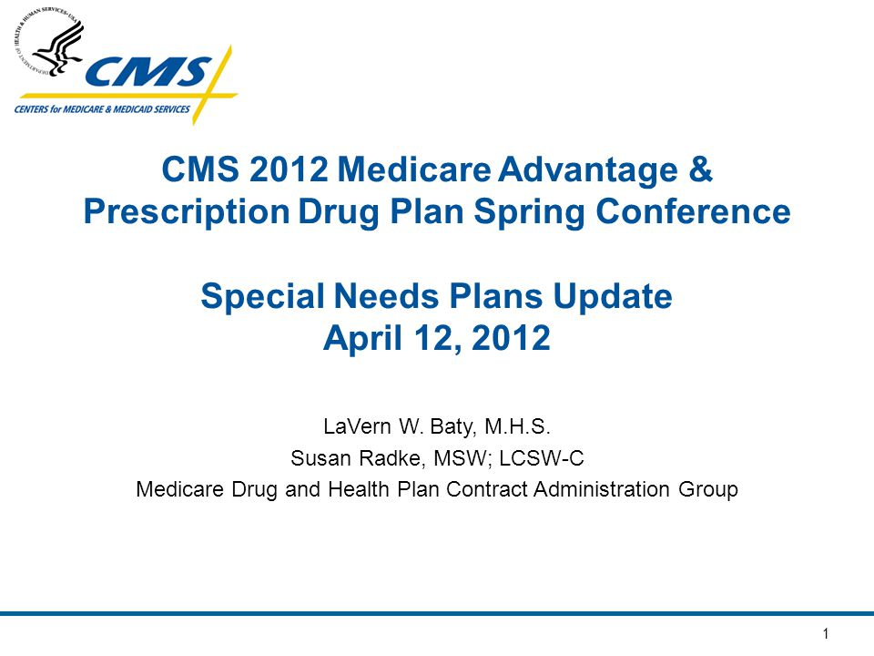 1 CMS 2012 Medicare Advantage & Prescription Drug Plan Spring Conference Special Needs Plans Update April 12, 2012 LaVern W. Baty, M.H.S. Susan Radke,