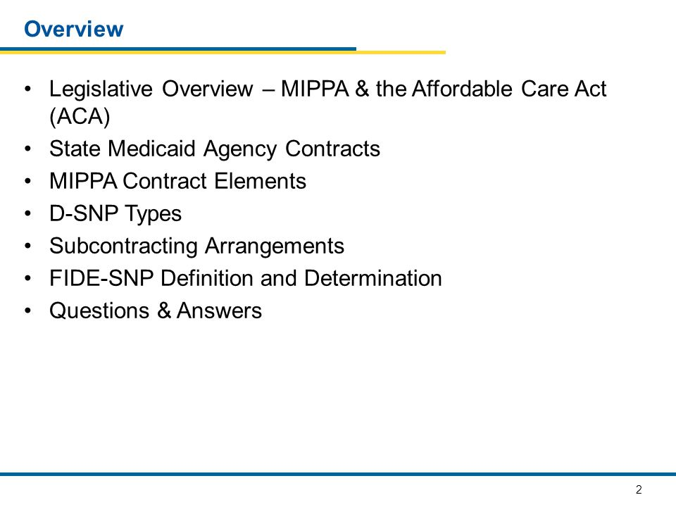 2 Overview Legislative Overview – MIPPA & the Affordable Care Act (ACA) State Medicaid Agency Contracts MIPPA Contract Elements D-SNP Types Subcontrac