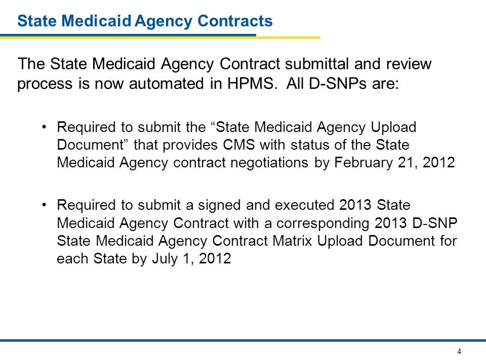 4 State Medicaid Agency Contracts The State Medicaid Agency Contract submittal and review process is now automated in HPMS. All D-SNPs are: Required t