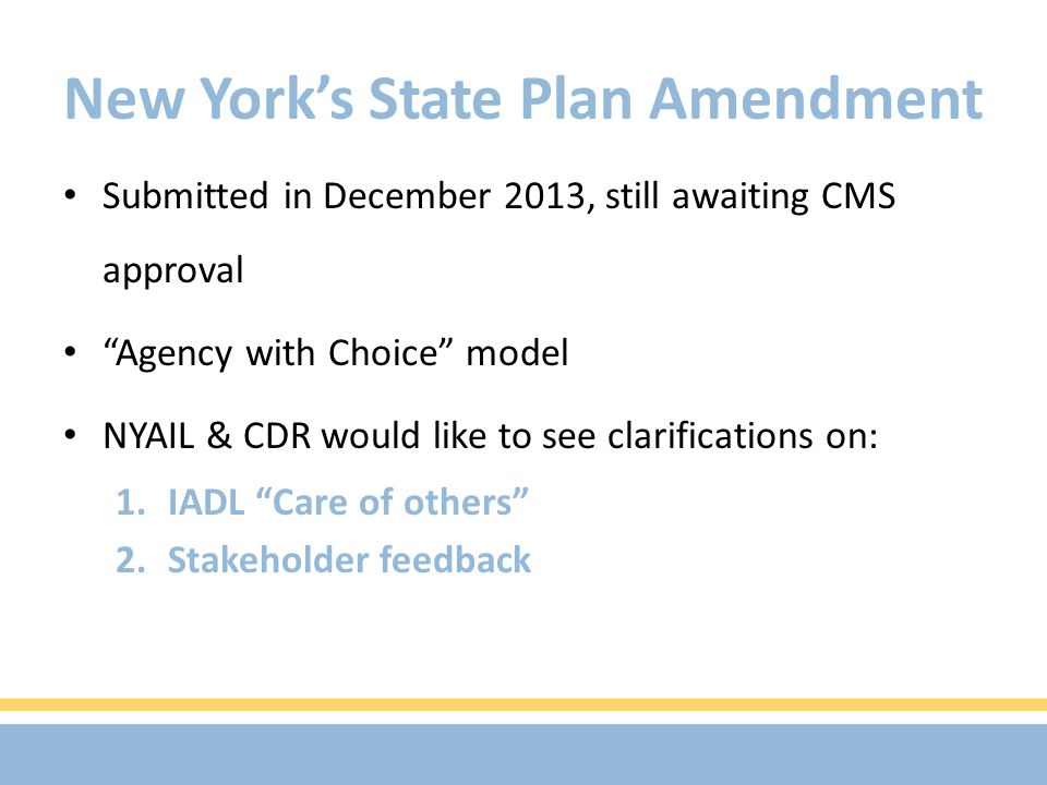 New York's State Plan Amendment Submitted in December 2013, still awaiting CMS approval Agency with Choice model NYAIL & CDR would like to see clarifications on: 1.IADL Care of others 2.Stakeholder feedback