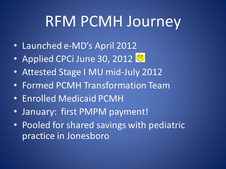 RFM PCMH Journey Launched e-MD's April 2012 Applied CPCi June 30, 2012 Attested Stage I MU mid-July 2012 Formed PCMH Transformation Team Enrolled Medicaid PCMH January: first PMPM payment.