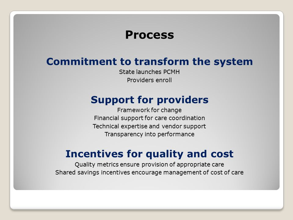 Process Commitment to transform the system State launches PCMH Providers enroll Support for providers Framework for change Financial support for care coordination Technical expertise and vendor support Transparency into performance Incentives for quality and cost Quality metrics ensure provision of appropriate care Shared savings incentives encourage management of cost of care