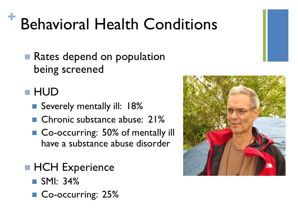 + Behavioral Health Conditions Rates depend on population being screened HUD Severely mentally ill: 18% Chronic substance abuse: 21% Co-occurring: 50% of mentally ill have a substance abuse disorder HCH Experience SMI: 34% Co-occurring: 25%