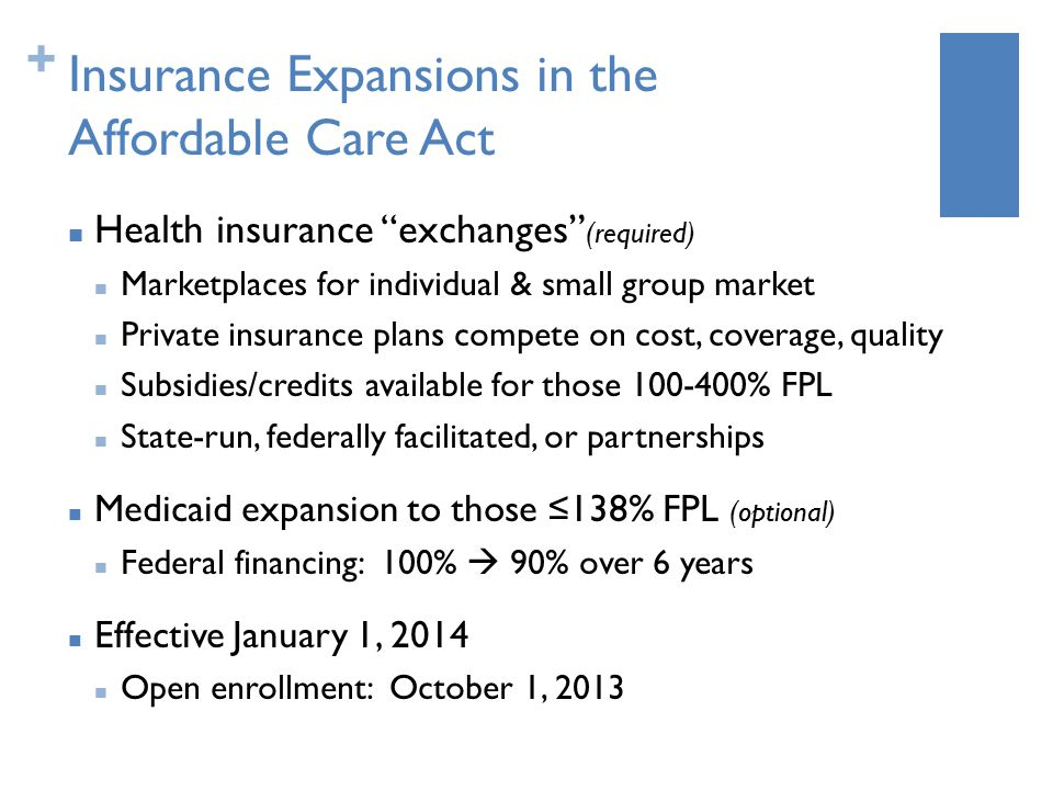+ Insurance Expansions in the Affordable Care Act Health insurance exchanges (required) Marketplaces for individual & small group market Private insurance plans compete on cost, coverage, quality Subsidies/credits available for those 100-400% FPL State-run, federally facilitated, or partnerships Medicaid expansion to those ≤138% FPL (optional) Federal financing: 100%  90% over 6 years Effective January 1, 2014 Open enrollment: October 1, 2013