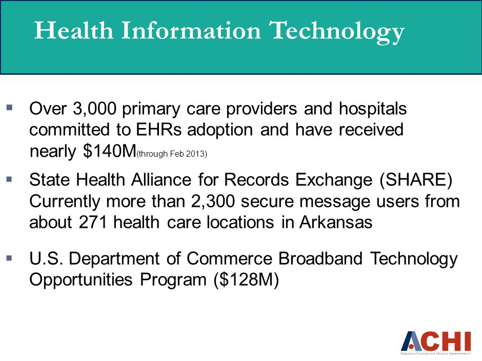 Health Information Technology  Over 3,000 primary care providers and hospitals committed to EHRs adoption and have received nearly $140M (through Feb 2013)  State Health Alliance for Records Exchange (SHARE) Currently more than 2,300 secure message users from about 271 health care locations in Arkansas  U.S.