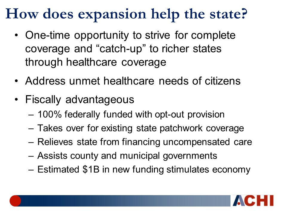 How does expansion help the state.