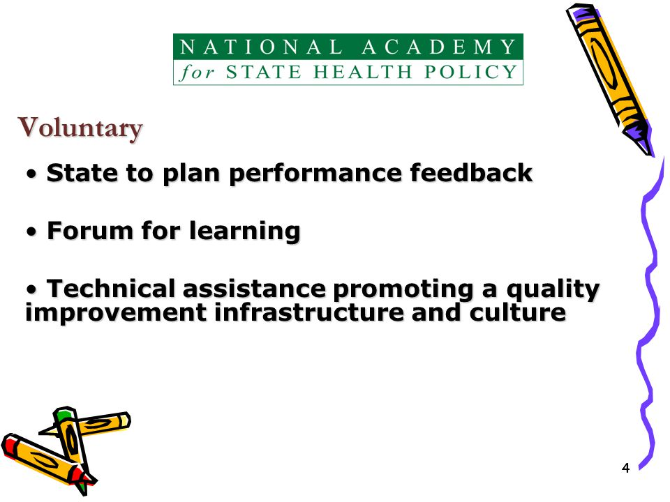 44 Voluntary State to plan performance feedback State to plan performance feedback Forum for learning Forum for learning Technical assistance promoting a quality improvement infrastructure and culture Technical assistance promoting a quality improvement infrastructure and culture