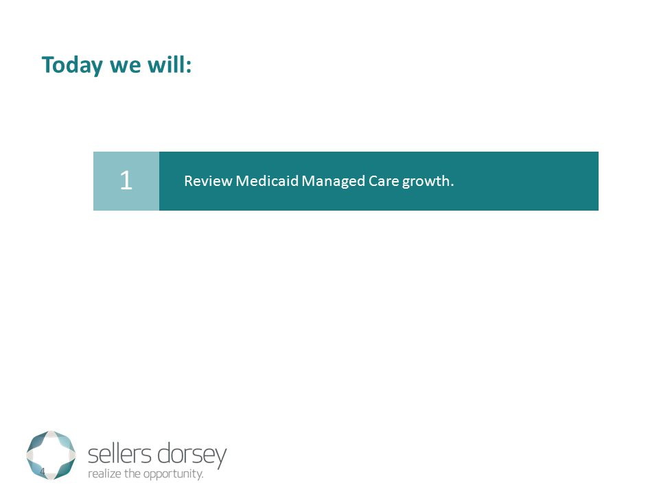 Today we will: 4 Review Medicaid Managed Care growth. 1