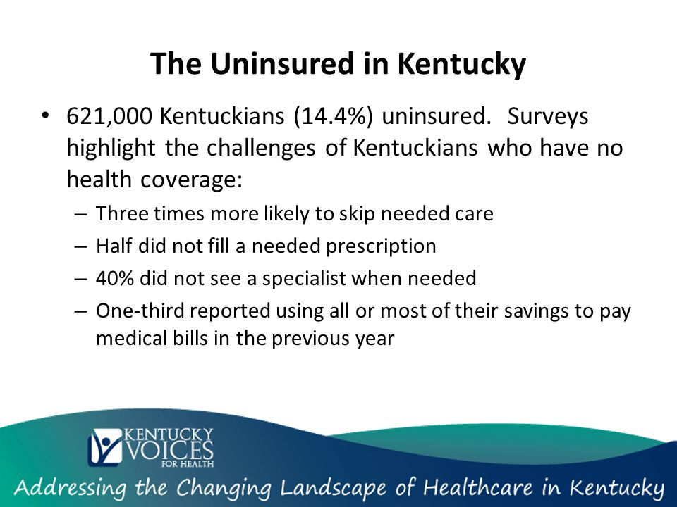 The Uninsured in Kentucky 621,000 Kentuckians (14.4%) uninsured.