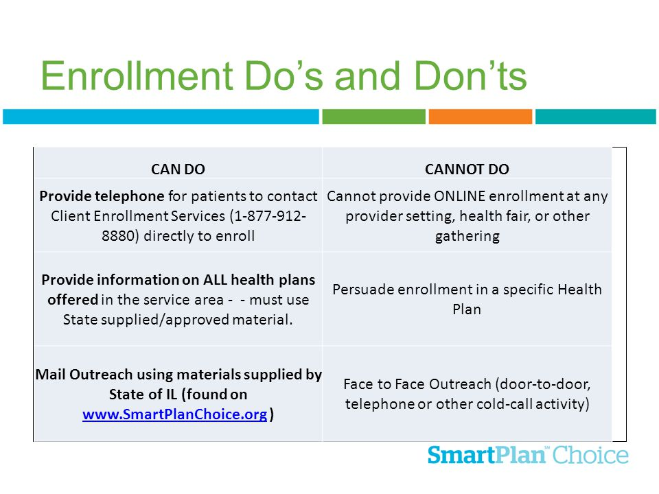 Enrollment Do's and Don'ts CAN DOCANNOT DO Provide telephone for patients to contact Client Enrollment Services (1-877-912- 8880) directly to enroll C