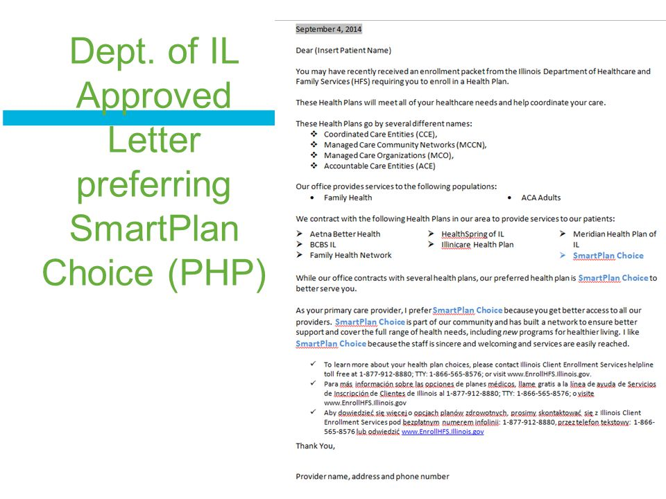 Dept. of IL Approved Letter preferring SmartPlan Choice (PHP)