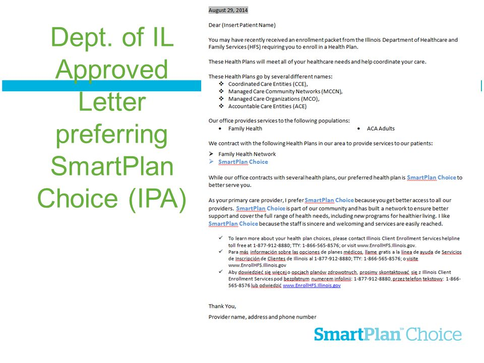 Dept. of IL Approved Letter preferring SmartPlan Choice (IPA)