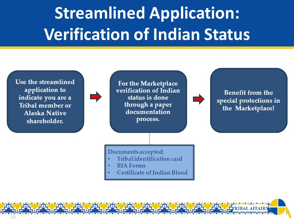 TRIBAL AFFAIRS Streamlined Application: Verification of Indian Status 13 Use the streamlined application to indicate you are a Tribal member or Alaska