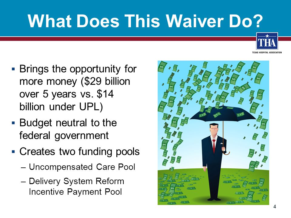 Overview 5 Waiver Pool Hospitals eligible for funding must commit to investing in system transformation Uncompensated Care Pool Delivery System Reform Incentive Pool Pays hospitals for cost of care not compensated by Medicaid directly or through DSH Pays hospitals for achieving metrics that move toward the triple aim Inpatient Outpatient Physician Pharmacy Clinic Category 1 – Infrastructure Development Category 2 – Program Innovation & Redesign Category 3 – Quality Improvements Category 4 – Population Focused Improvements Hospitals must participate in a regional healthcare partnership to receive funds from either pool
