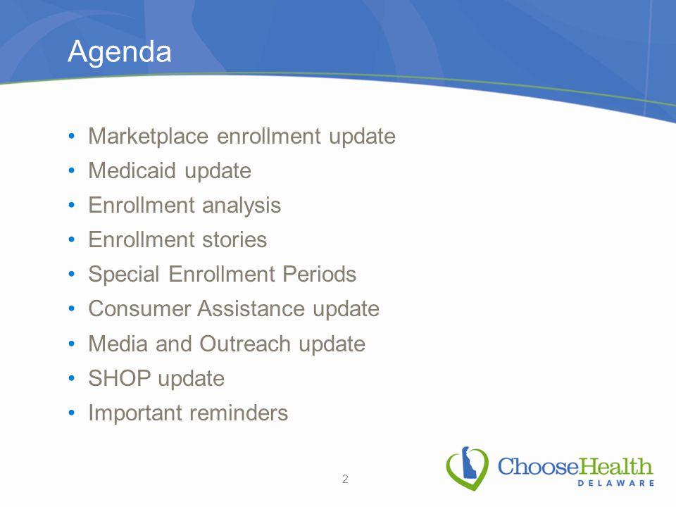 Agenda Marketplace enrollment update Medicaid update Enrollment analysis Enrollment stories Special Enrollment Periods Consumer Assistance update Medi