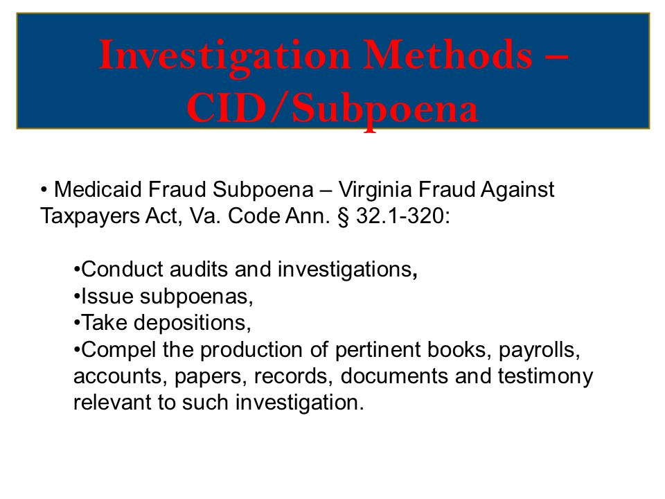 Methods – Relevant Information Obtained by CID/Subpoena Call notes Training materials Sales and marketing documents Organizational charts Studies sponsored by the company Emails or internal correspondence Witnesses interview reports Deposition transcripts