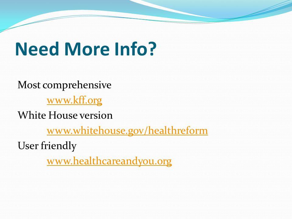 Need More Info? Most comprehensive www.kff.org White House version www.whitehouse.gov/healthreform User friendly www.healthcareandyou.org