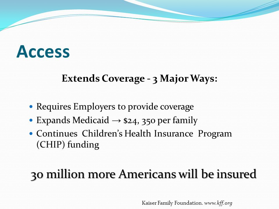 Extends Coverage - 3 Major Ways: Requires Employers to provide coverage Expands Medicaid → $24, 350 per family Continues Children's Health Insurance P