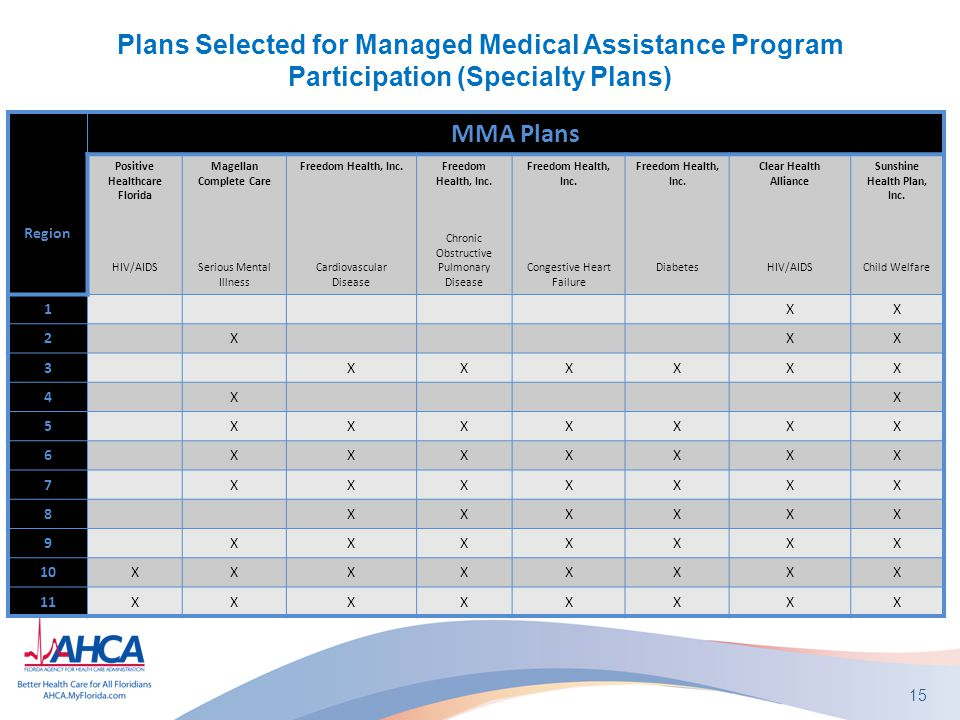 Plans Selected for Managed Medical Assistance Program Participation (Specialty Plans) 15 Region MMA Plans Positive Healthcare Florida HIV/AIDS Magellan Complete Care Serious Mental Illness Freedom Health, Inc.