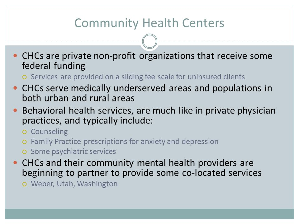 The Goal: Primary and Behavioral Health Care Integration Developed by the Substance Abuse and Mental Health Services Administration to offer primary care to adults with SMI in community mental health centers  Preventive screening  Treatment for primary care conditions  Registry systems  Care Management  Prevention and wellness services  Practice integration and improved communication across the continuum of care