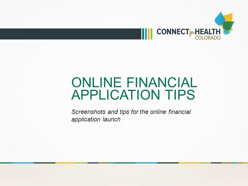 ONLINE FINANCIAL APPLICATION TIPS Screenshots and tips for the online financial application launch
