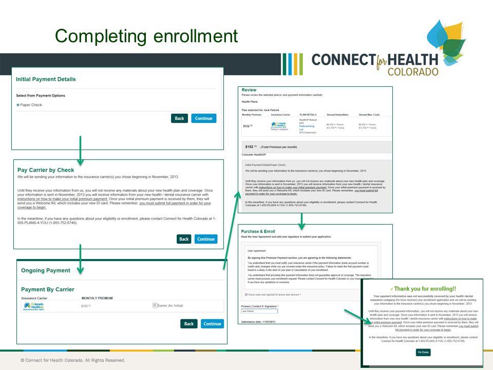 18 Completing enrollment