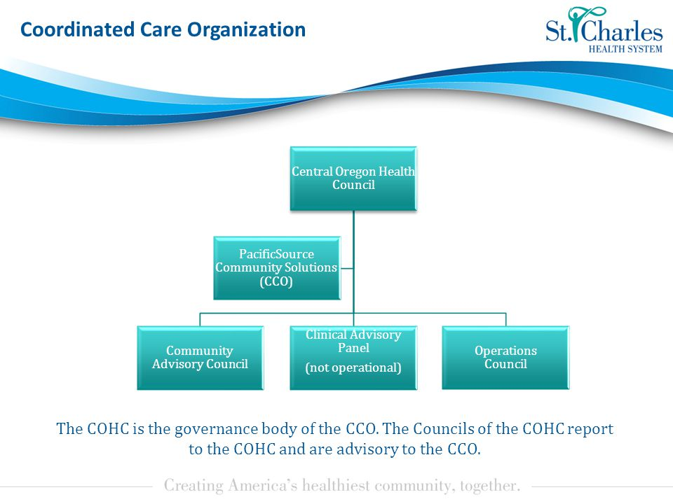 Coordinated Care Organization The COHC is the governance body of the CCO.