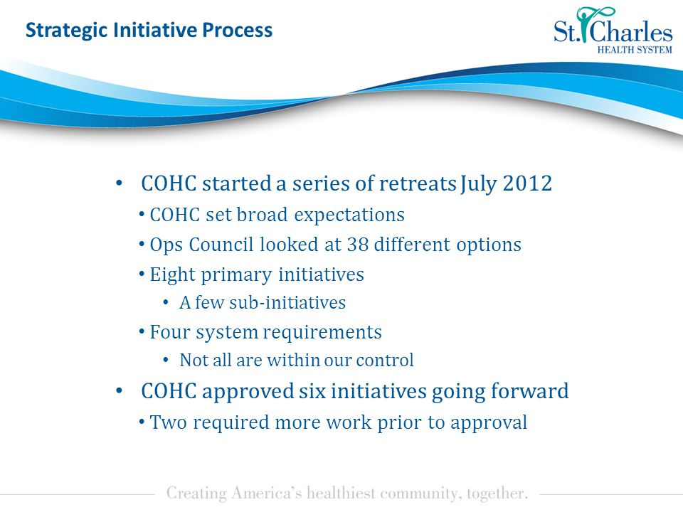 Strategic Initiative Process COHC started a series of retreats July 2012 COHC set broad expectations Ops Council looked at 38 different options Eight primary initiatives A few sub-initiatives Four system requirements Not all are within our control COHC approved six initiatives going forward Two required more work prior to approval